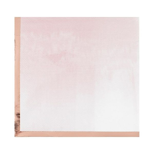 Serviettes aquarelle pastel & Rose gold x16 - Ginger Ray