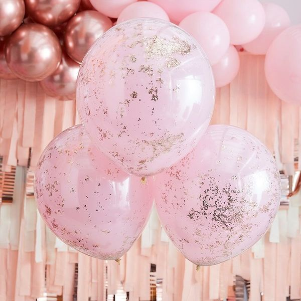 Grands ballons rose confettis Rose & Rose gold x3 - 45 cm - Ginger Ray