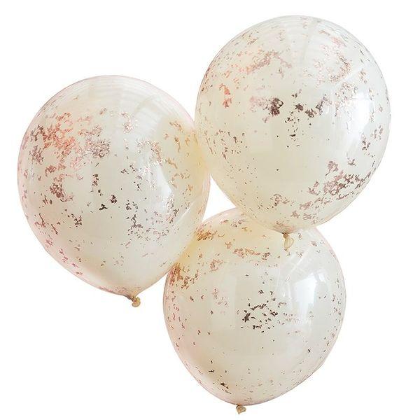 "Ballons ""Oh Baby!"" confettis dorés x5 - Ginger Ray"
