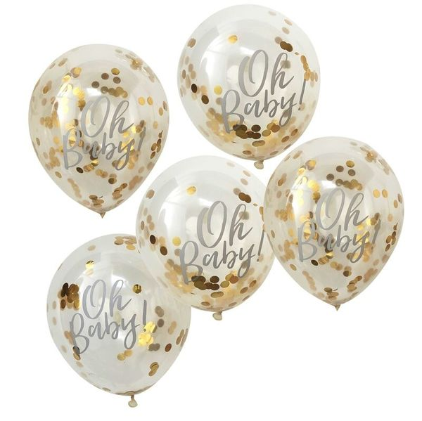 Ballons Oh Baby confettis dorés x5 - Ginger Ray Décoration babyshower