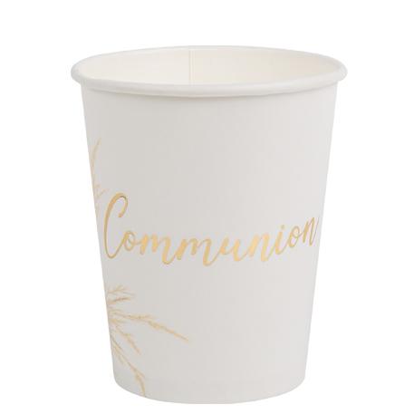 Gobelets Communion Pampa blanc et doré x8