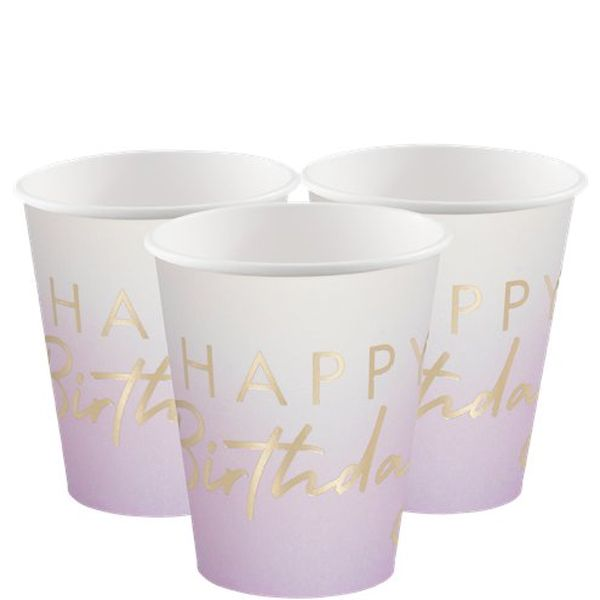 Gobelets ombre Lilas et doré Happy Birthday Ginger Ray