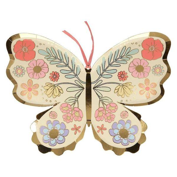 Assiettes en forme de Papillon et dorure Meri Meri cool kids fun anniversaire fée
