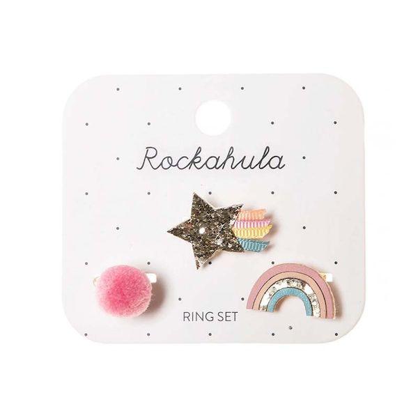 Bagues arc-en-ciel et étoile scintillants Rockahula Kids accessoire beauté pour enfant
