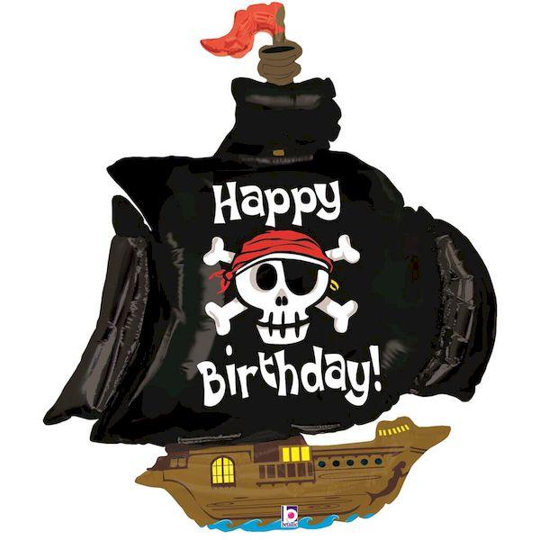"""Ballon Bateau de Pirate """"Happy Birthday"""" 102 cm Grabo déco fête anniversaire hélium"""