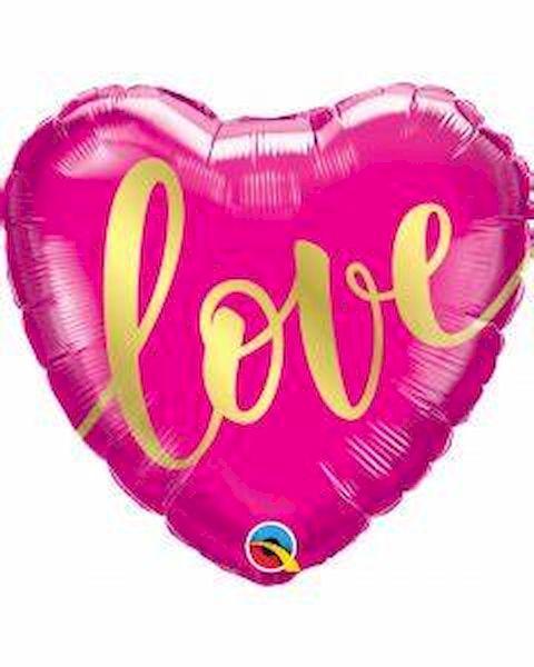 """Ballon Cœur rose """"Love"""" 46 cm Qualatex déco fête anniversaire enfant"""