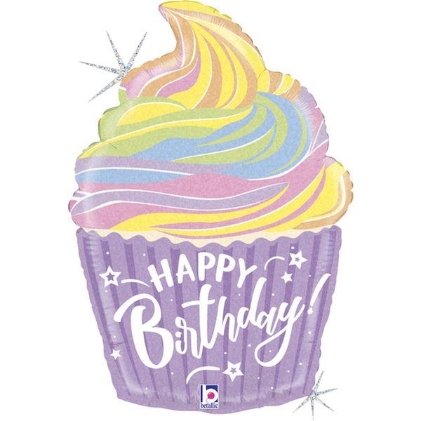 """Ballon Cupcake pastel """"Happy Birthday"""" 69 cm Grabo fête anniversaire déco enfant"""