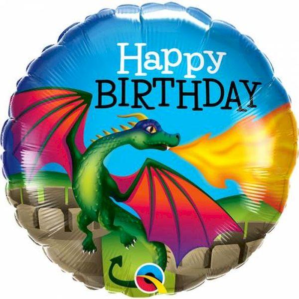 """Ballon Dragon Mythique """"Happy Birthday"""" 46 cm Qualatex déco fête anniversaire enfant"""