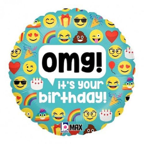 """Ballon Emoji """"OMG It's your Birthday"""" 46 cm Grabo fête enfant déco anniversaire"""