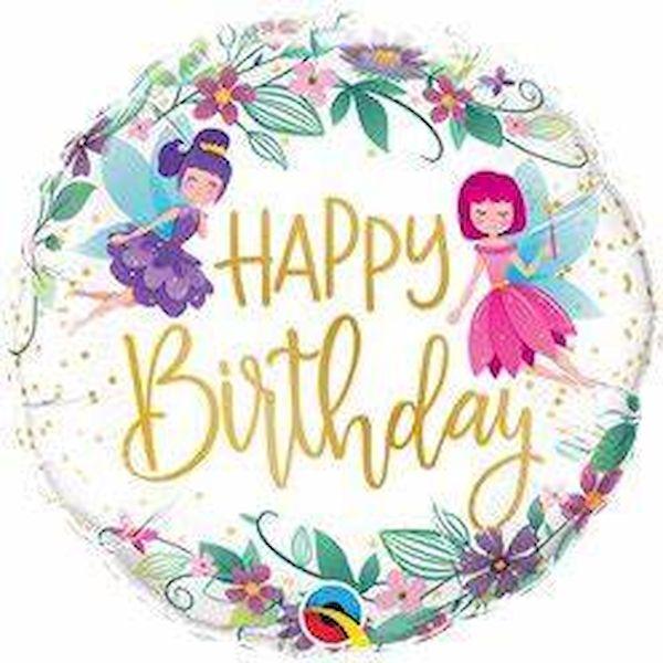 """Ballon Fée et fleurs sauvages """"Happy Birthday"""" 46 cm Qualatex déco fête anniversaire fille"""
