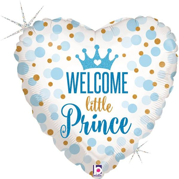 """Ballon Glitter Cœur """"Welcome Little Prince"""" 46 cm Grabo décoration fête gender reveal party baby shower enfant bébé"""