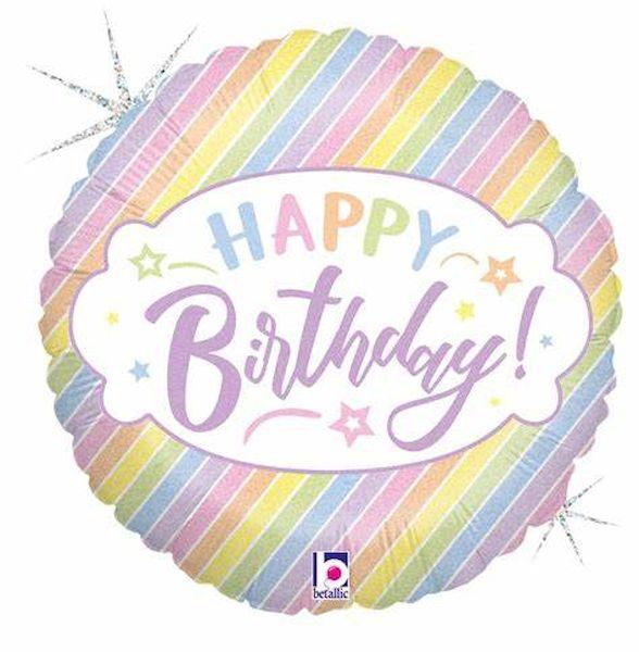 """Ballon Pastel """"Happy Birthday"""" 46 cm Qualatex déco fête anniversaire enfant"""