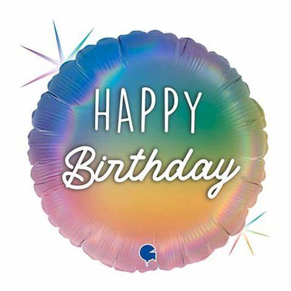 """Ballon Colourful Rainbow """"Happy Birthday"""" 46 cm Grabo déco fête anniversaire enfant"""