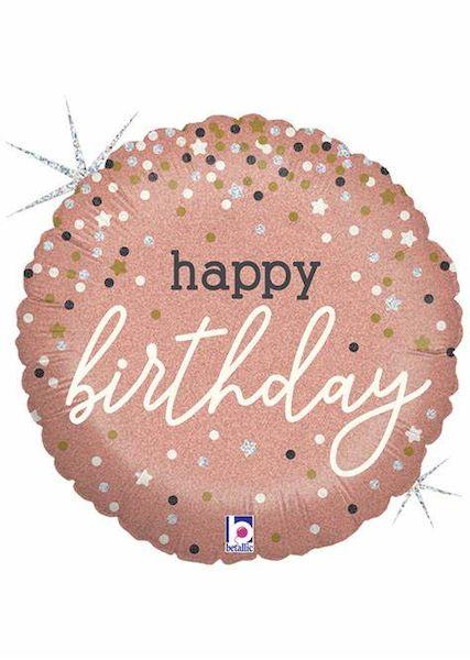 "Ballon Rose Gold confetti ""Happy Birthday"" 45 cm Grabo déco fête anniversaire fille"