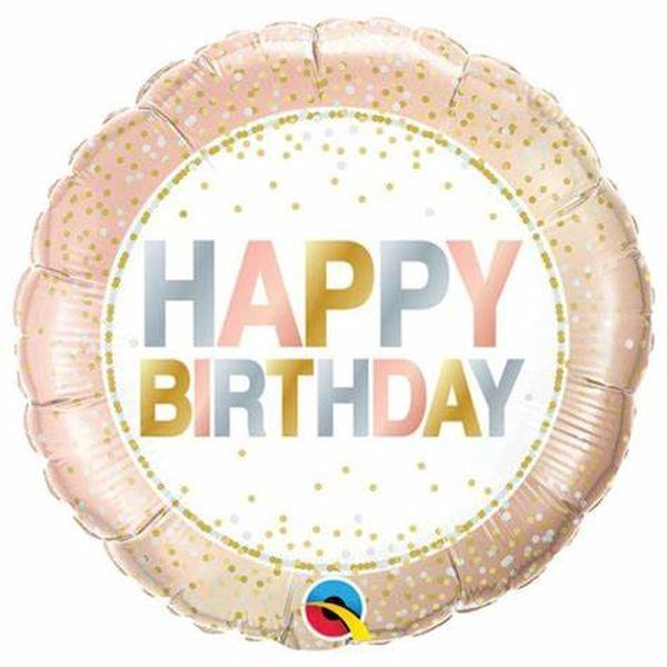 """Ballon Rose à pois métalliques """"Happy Birthday"""" 46 cm Qualatex déco fête anniversaire enfant"""