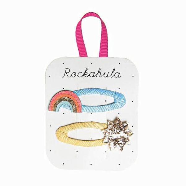 Barrettes Arc-en-ciel et soleil pailletés Rockahula Kids accessoire beauté pour enfant