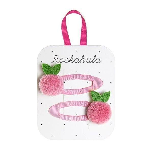 Barrettes Pompon rose et vert Rockahula Kids accessoire beauté pour enfant