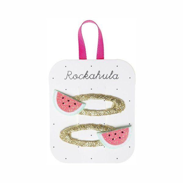 Barrettes dorées Pastèque x2 Rockahula Kids accessoire beauté pour enfant