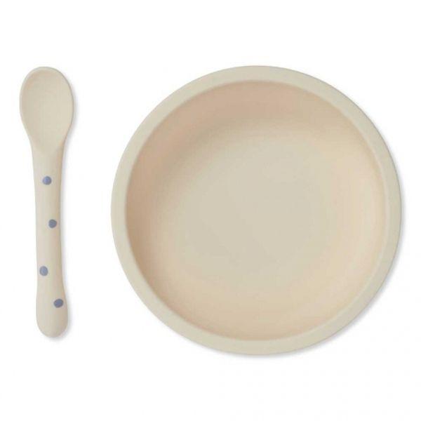 Bol antidérapant et cuillère Ocean Blue Dot Konges Sløjd accessoire repas pour enfant vaisselle