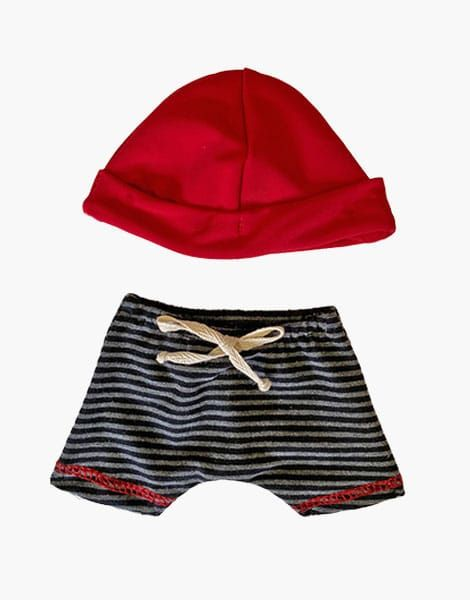 Caleçon Vito rouge à rayures et son bonnet - Minikane