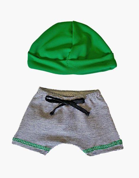 Caleçon Vito vert à rayures et son bonnet - Minikane