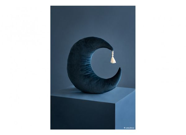 Coussin en velours Pierrot Moon - Night Blue - Nobodinoz