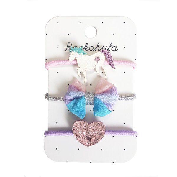 Élastiques Nœud pastel Licorne et Cœur Scintillants x3 Rockahula Kids accessoire beauté enfant