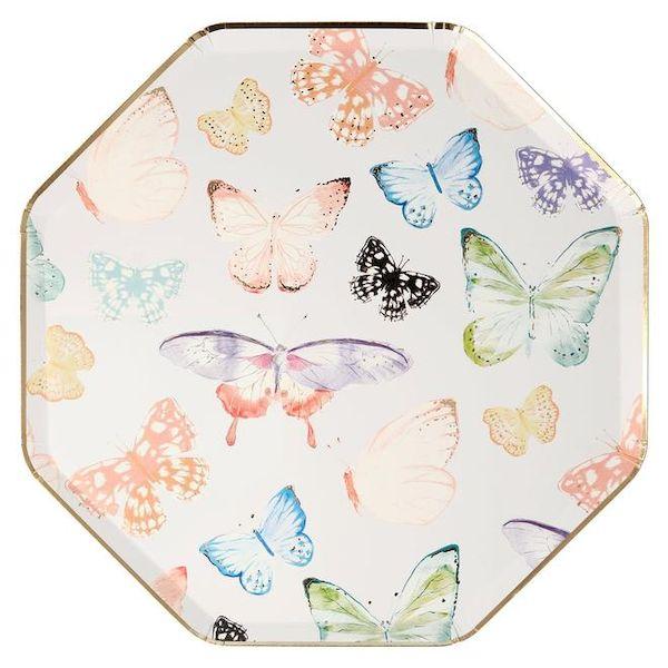 Grandes Assiettes Papillon avec dorure Meri Meri anniversaire kids cool déco