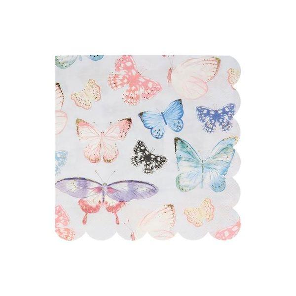 Grandes Serviettes Papillon avec dorure Meri Meri fée magie cool kids anniversaire