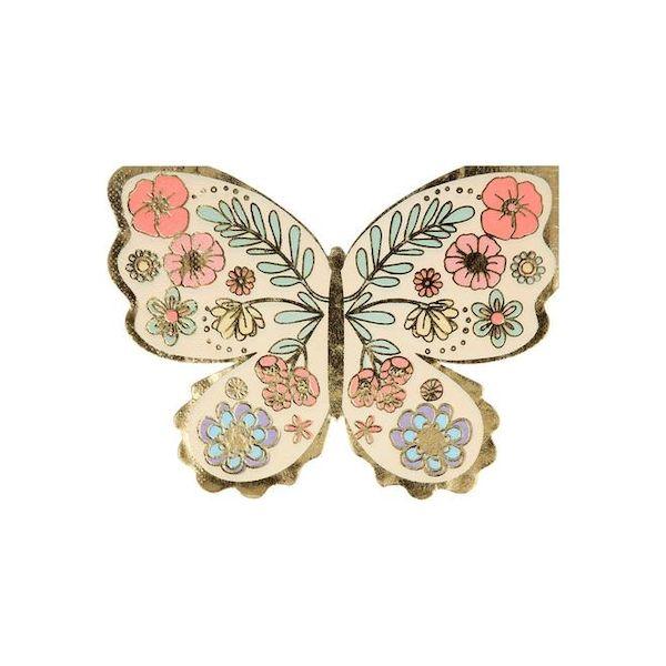 Serviettes en forme de Papillon et dorure Meri Meri déco fée magie anniversaire cool kids