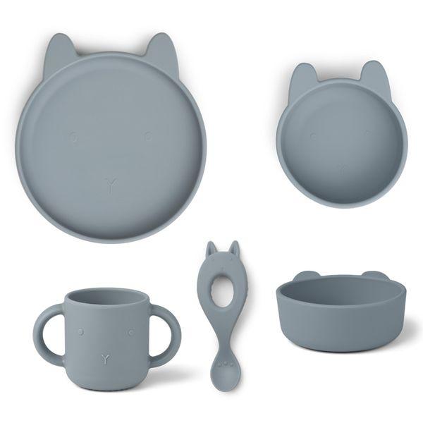 Set de vaisselle en silicone Vivi Rabbit Sea blue- Liewood
