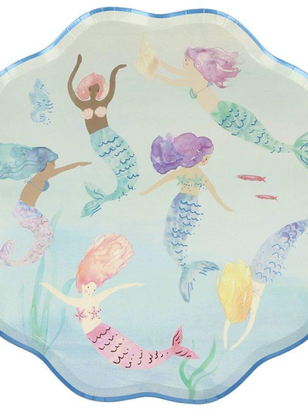 Assiettes Sirènes qui nagent x8 Meri Meri décoration fête anniversaire
