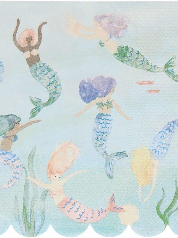 Grandes serviettes sirène bleu clair meri meri décoration fête anniversaire