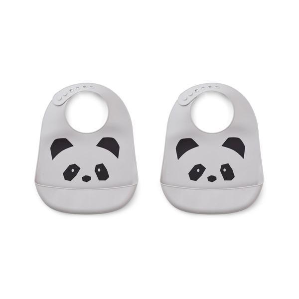 Lot de 2 bavoirs en silicone Tilda Panda Dumbo Grey Liewood cadeau de naissance accessoire repas pour enfant pratique