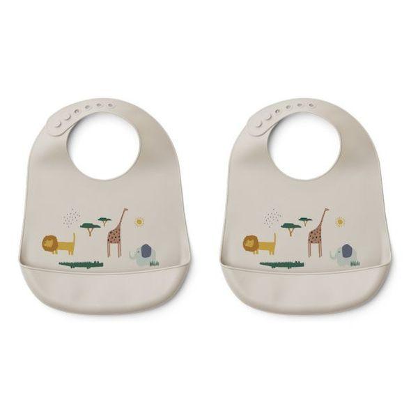 Lot de 2 bavoirs en silicone Tilda Safari Liewood accessoire repas enfant cadeau de naissance