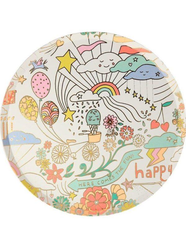 Petites assiettes Doodle avec dorure x8 Meri Meri décoration fête anniversaire