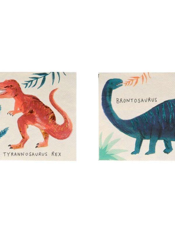 Petites serviettes 8 Dinosaures avec nom x16 - Meri Meri décoration fête anniversaire