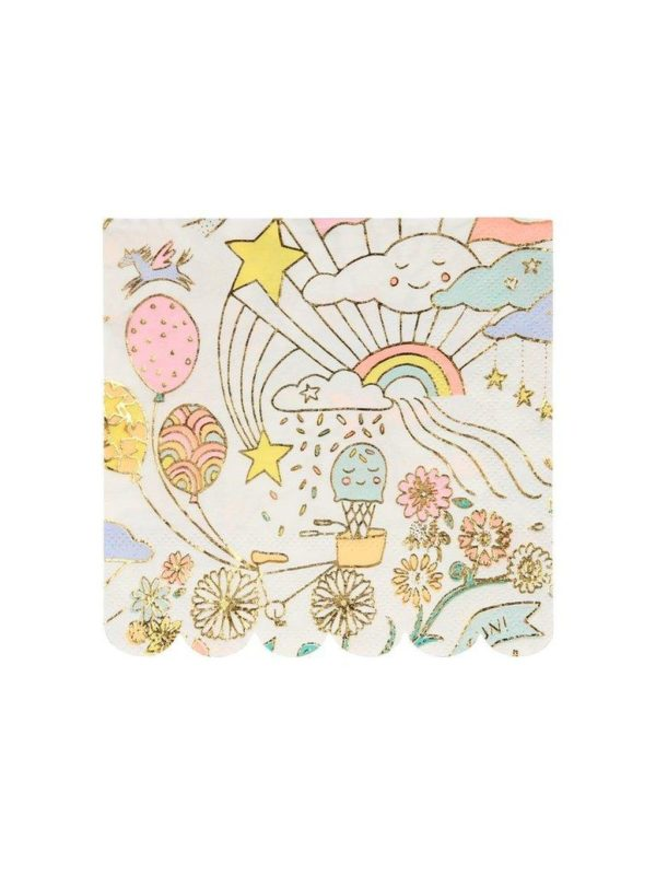 Petites serviettes Doodle avec dorure x 16 Meri Meri décoration fête anniversaire