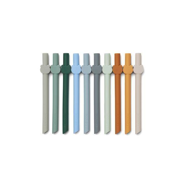 Set de 10 pailles Badu en silicone Blue Wave Multi mix Liewood accessoire enfant tendance