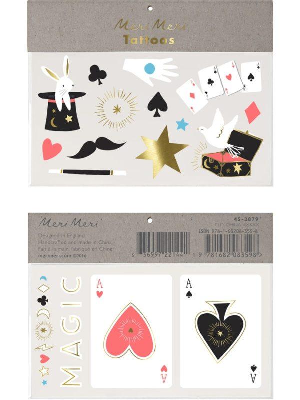 Set de 2 grandes planches de tatouages Les magiciens Meri Meri magie anniversaire