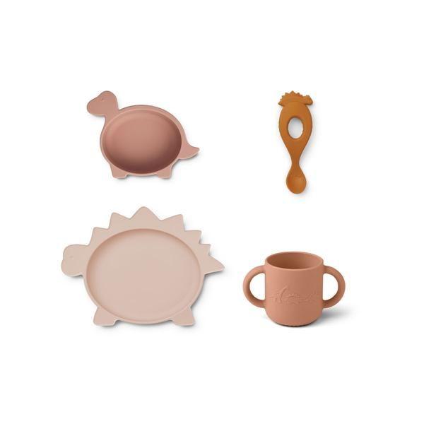 Set de vaisselle en silicone Vivi Dino Rose Multi Mix Liewood accessoire repas cadeau de naissance