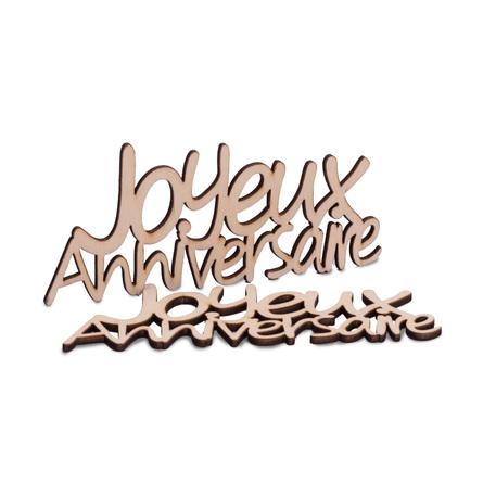 """Déco """"joyeux Anniversaire"""" bois x4"""