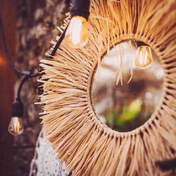 miroir rond raphia style bohème