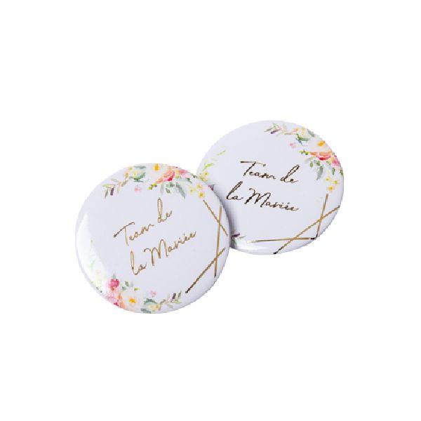 2 Badges aquarelle team de la mariée