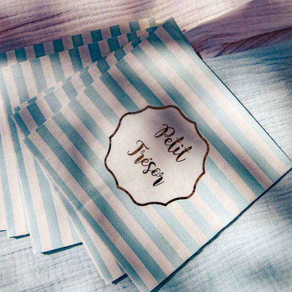 """Serviettes """"Petit Trésor"""" bleu et blanc"""
