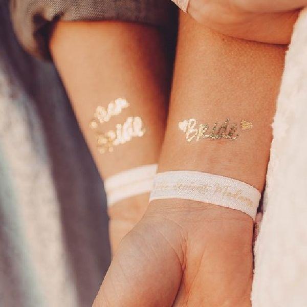 16 tatouages éphémères team bride or