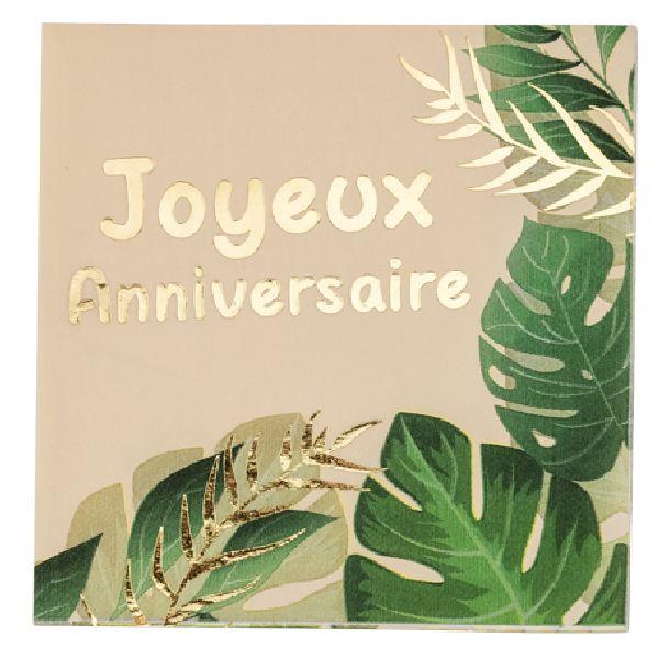 """Serviettes """"joyeux anniversaire"""" safari"""