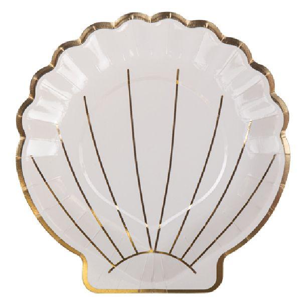 Assiettes coquillages blanc et or