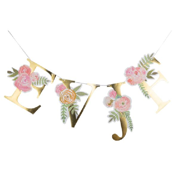 Guirlande EVJF fleurs et or