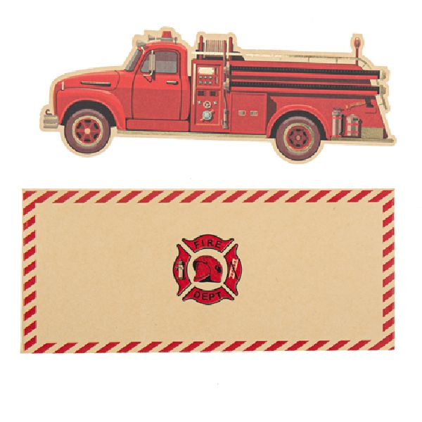 Invitation pompier kraft rouge et or